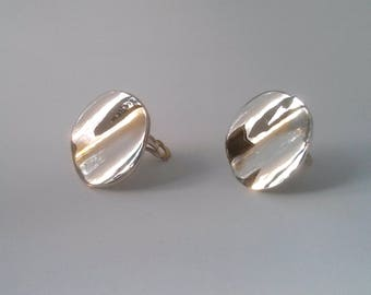 Large Sliver Circular Statement Earrings -- Wavy Undulating Surface -- Mid-century style