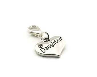 SALE Daughter Zipper Pull Heart Purse Charm Silver Clip On Charms