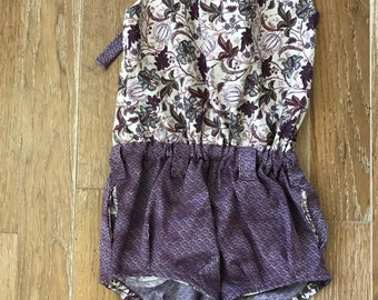 Cute spring/summer romper shorts-little girl romper shorts, with a vintage look-purple and off white romper shorts-4t; 4 toddler