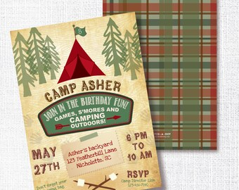 Camp Out Sleepover Birthday Invitation, Printable,  Camping Kids Invite, Rustic, Woodland, S'mores, Great Outdoors, LumberJack, Campfire