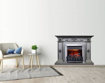 Fireplace Sticker Grey Wood Fireplace Decal Fireplace Print Wall Sticker  Wall Art Prints Wall Decor Home