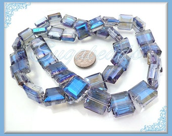 10 Blue Faceted Crystals Square Beads 13mm