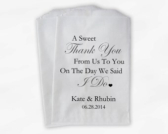 Sweet Thank You Wedding Candy Buffet Treat Bags - Charcoal Gray Personalized Favor Bags with Couple's Names and Wedding Date (0054)