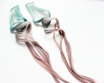 Teal Purple Hair Extension, Pastel hair Clip In Extension, Scene Hair, 24 inch extension, Emo hair | Call Me