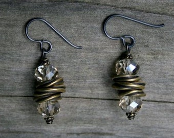 Niobium Twist Amber Glass Earrings