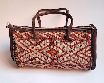 UNIQUE Vintage kilim &  dark brown leather Boston bag , Boho Chic Women Bag , Kilim Bag, Shoulder bag, Handle bag