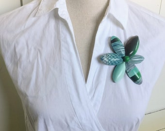 Contemporary gift for her. Flower Brooch in Blue/Green. Designer. Unique