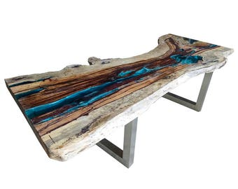 River Resin Live Edge Table (2 of 2). Absolutely stunning, the most unique table available today? SEE DETAILS below. 280 x 110/75 x 78
