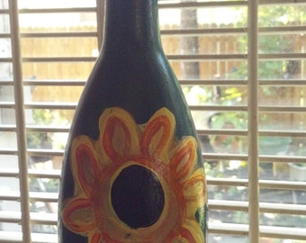 Sunflower Glass Bottle Art Hand Painted Hand Crafted One of a Kind