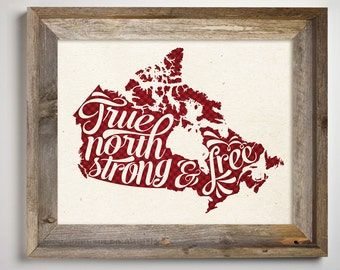Canada Printable •True North Strong and Free • Canadian Red and Black Buffalo •Proud Canadian • I am Canadian Lumberjack Map Print 11 x 14