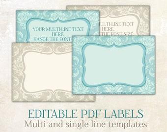 Editable labels Editable tags editable printable labels Editable PDF personalized labels diy labels Labels for jars labels for mason jars