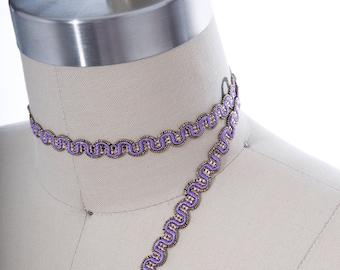 2 Yards Amethyst Purple Gimp/ Gold Gimp Trim/ Purple  Upholstery Trim/ Purple Drapery Trim/ Purple and Gold Gimp