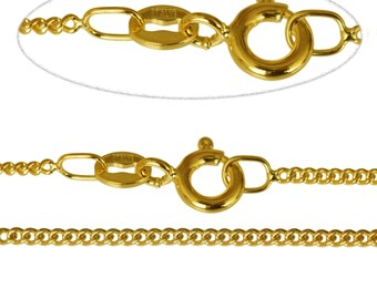 """E-Coated 9ct Gold Plated 1.4mm Diamond Cut Curb Chain 16"""" to 40"""" Inch, All Sizes, Necklace,"""