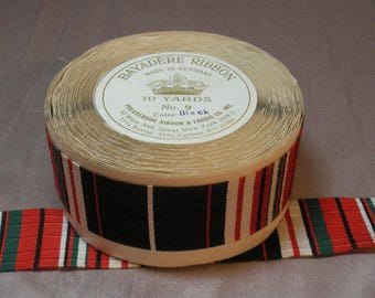 Vintage Bayadere Ribbon Full 10 Yard Roll, Horizontal Striped Ribbon Black