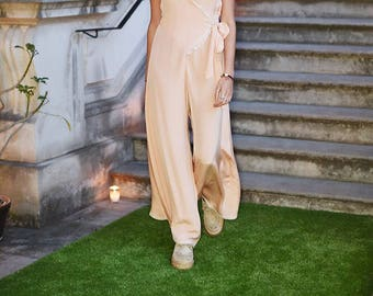100% pure silk Peach Pink Playsuit/Jumpsuit with lace detailing and flared trousers with adjustable silk belt/strap
