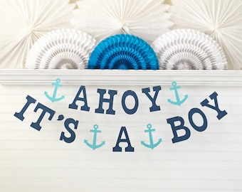 Ahoy It's A Boy Anchor Banner - 5 Inch Letters - Baby Shower Decoration Blue It's A Boy Nautical Baby Shower Banner Anchor Baby Boy Banner