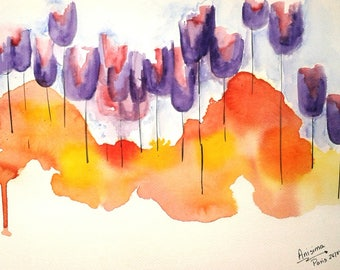 Field of tulips - Anissima watercolor size 21 cm * 29. 7 cm
