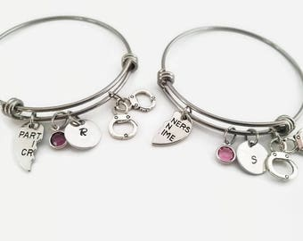 Best Friend bangle set - Partners in Crime bracelets - BFF personalized bangle set gift - Gift for best friend - Handcuff bracelet set