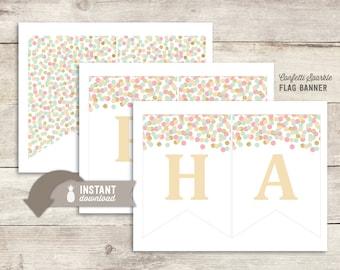 Confetti Sparkle Happy Birthday Flag Banner - Instant Download