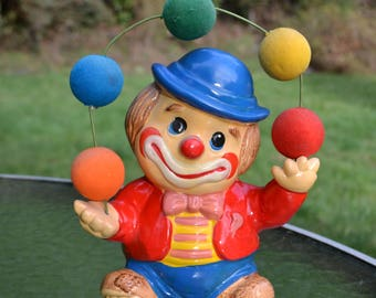 Vintage Ceramic Juggling Clown Bank