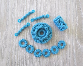 Fiberpunk Beads - Turquoise Blue - 11 Piece Set - Fiber Beads - Crocheted and Tatted Beads for Jewelry Making - Jewelry Components