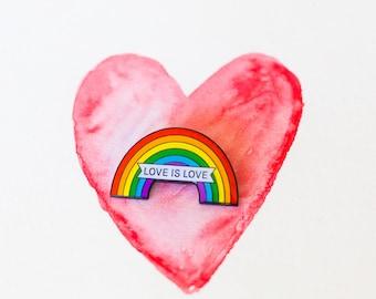 Enamel pin, Love is Love enamel pin, rainbow lapel pin, same sex marriage pin equal love pin, rainbow pin, activist pin, rainbow badge, love