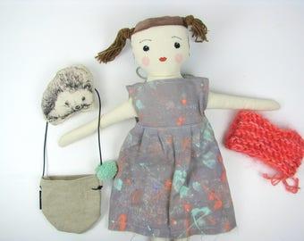 Textile doll, Handmade Doll, Linen doll, Heirloom doll, Art doll, Rag doll, Cloth toy, Minimal style, Cloth doll, Hedgehog toy, Animal toy,