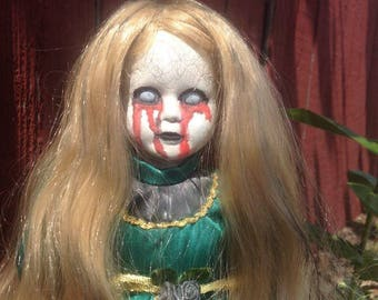 Creepy doll, goth doll, horror doll, Halloween prop