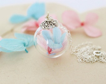 Hydrangea Necklace, Glass Globe Necklace, Blue and Pink, Mom Necklace, Mom Gift, Gift for Her, Terrarium Jewelry, Alternative Wedding