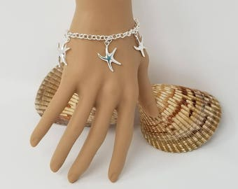 Sterling Silver Starfish Bracelet Destination Wedding Bracelet Beach Wedding Bracelet Beach Wedding Jewelry Bridesmaid Bracelet