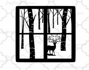 Christmas Svg File Winter Scene Glass Block Reindeer SVG,EPS Png DXF,digital download files for Silhouette Cricut, Vinyl Cutting Machines