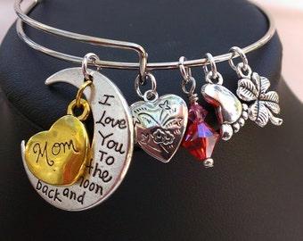 I love you to the moon & back Moms bracelet birthstone !Adjustable bangle bracelet ! Mothers day gift bracelet !