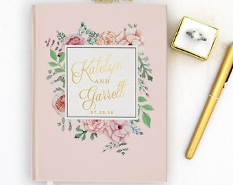 Real Gold Foil Wedding Guest Book Gold foil Guest Books Custom Guestbook Vintage Wedding Script Wedding Blush Pink