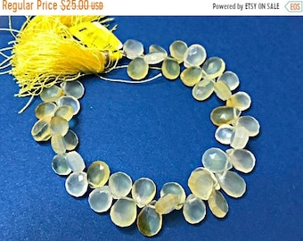 "25% OFF Handcut Lemon Chalcedony Faceted Briollets, 44 Briollets 7.5"" std 9-12mm approx, Lemon Yellow Color, gemstone bead strand - YCALF25"