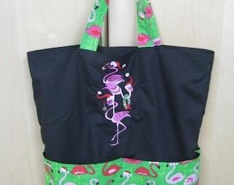 Christmas Xmas Flamingo Stack Eco Friendly Bag, Tote, Market Tote or Purse