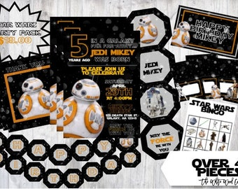 Star Wars BB-8 The Force Awakens Birthday Party Pack Printable Digital Download