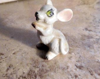 Vintage Miniature Gray Mouse Porcelain Figurine