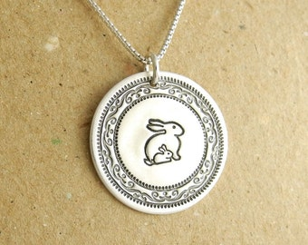 Mother and Baby Rabbit Necklace, New Mom Necklace, Mom and Baby Bunny Necklace, Fine Silver, Sterling Silver Chain, Made To Order