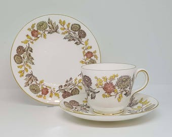 Wedgwood Lichfield Trio - Tea Cup, Saucer and Tea Plate - Vintage 1960s - Retro Tea Set - Floral Trio Set - Afternoon Tea - Staffordshire