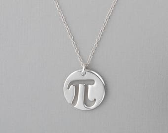 Circle Pi Necklace, Pi Charm, Math Jewelry, Pi Symbol Pendant, Geometry Necklace, Silver Pi Jewelry, Pi Pendant