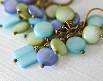 Confetti Pearl Earrings Aqua, Celery, Periwinkle with Mother of Pearl
