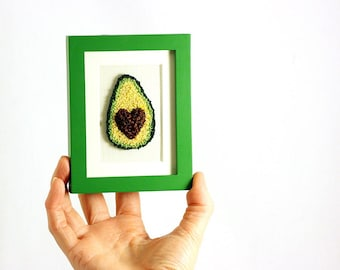 Avocado Embroidery in a Mini Green Frame. Fiber Art. Punchneedle Embroidery. Home Decor. Green, Brown, Yellow. Avocado