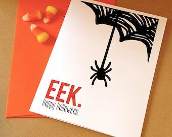 Halloween Card - Eek - Spider Web