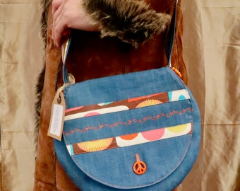 Denim Love & Peace Shoulder Bag (Small)