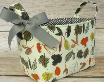Sale / Clearance - READY TO SHIP - Fabric Organizer Storage Bin Container Basket - Autumn Fall Leaves Fabric - Nursery Baby Room Decor