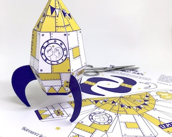 Set of 20 rocket wedding gifts, to the moon and back papertoy