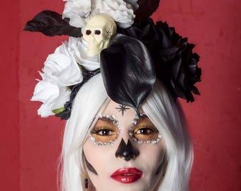 Black and white rose skull Dia de los Muertos Headpiece