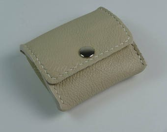 Women's Leather Coin Purse - Men's Leather Coin Purse - Calix - Beige - Hand Sewn