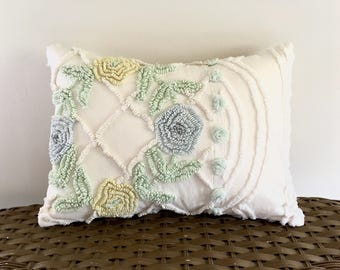 SUMMER WHISPER 12 X 16 inches, light blue roses pillow cover, cottage chic chenille cushion, shabby throw pillow case, yellow rose pillow