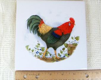 Handmade Ceramic Coaster / Rooster Decor / Ceramic Spoon Rest  / Spoon Holder / Wine Coaster / Tile Coaster / Drink Coaster